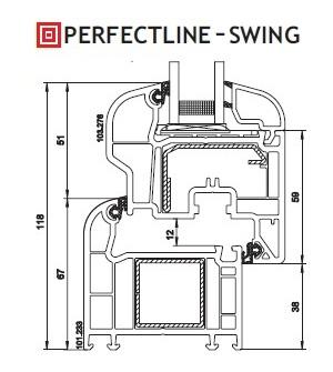 VEKA PerfectLine-Swing - skladba profilu