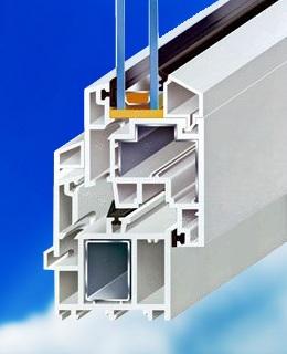 3-komorové plastové okno MD - řez